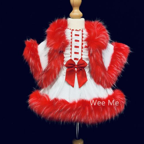 Red Wee Me Fluffy Fur Dress and Fur Cape Outfit Perfect for Winter